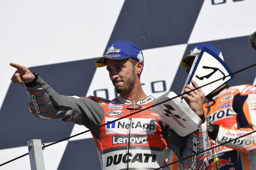 Andrea Dovizioso sul podio del GP di San Marino 2018